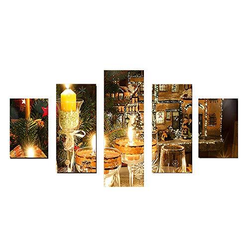 ZQCZ 5 Pezzi Arte MurariaNotte di NataleImmagini,Quadro Moderno Senza Cornice su Tela per Soggiorno/Sala da Pranzo/Camera da Letto,E,S