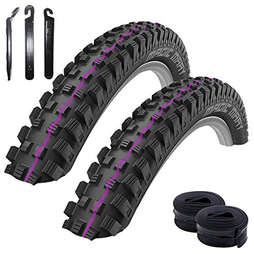 Set of 2 Schwalbe Magic Mary Downhill Addix Ultrasoft Bicycle Tyres Black 60-622 (29 x 2.35) + 2 Schwalbe DV19 Tubes Including 3 Tyre Levers
