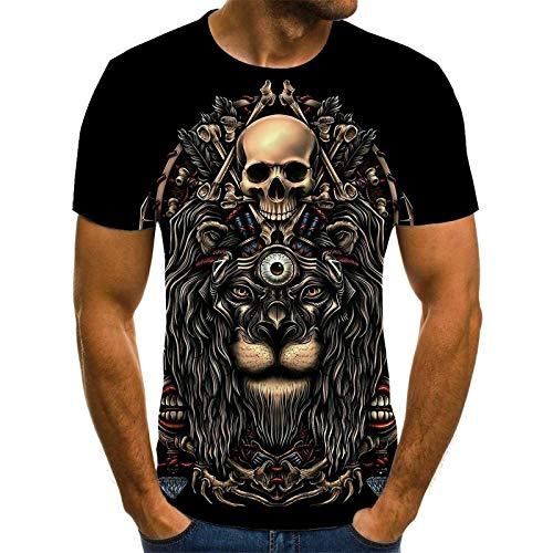 EMPERSTAR Disfraz de Esqueleto de Halloween con Calavera, Camiseta Negra para nios 5XL