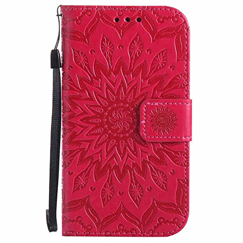 Dfly Galaxy S4 Hülle, Premium Slim PU Leder Mandala Blume prägung Muster Flip Hülle Bookstyle Stand Slot Schutzhülle Tasche Wallet Case für Samsung Galaxy S4 i9500, Rot