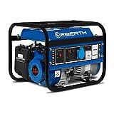 EBERTH 1000 Watt Générateur électrique (3 CV Moteur à essence 4 temps, Refroidi à l'air, 1x 230V, 1x 12V, Monophasé, Voltmètre)