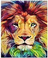 大人の数字によるペイントキット数字による油絵抽象的なライオンの動物子供のための数字による絵画40X50cm(フレームレス)