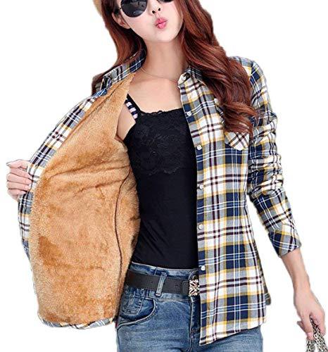Omoone - Camiseta de manga larga de franela de forro polar para mujer, Escocés azul, XS