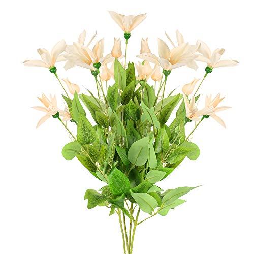 NAHUAA 4pcs Lotus Artificiel en Tissu 75cm Fleurs Artificielles Fausse Fleur 9 Têtes Couleur de Champagne pour Décoration Maison Chambre Fête Jardin Mariage