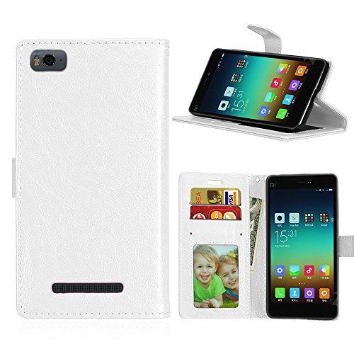 Xiaomi Mi 4I / Mi 4C Hülle, SATURCASE Glatt PU Lederhülle Magnetverschluss Flip Brieftasche Handy Tasche Schutzhülle Handyhülle Hülle mit Standfunktion für Xiaomi Mi 4I / Mi 4C (Weiß)