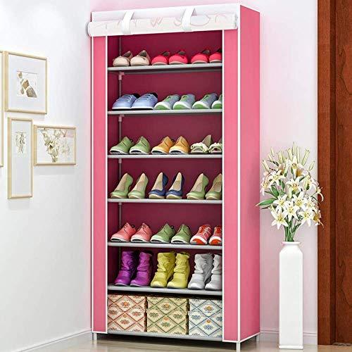NSYNSY Zapatero para Muebles, gabinete de Tela no Tejida de 7 Niveles para 21 Pares de Zapatos Organizador de Almacenamiento de pie Ajustable Beige Fácil de Montar (Color: Rosa)
