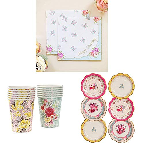 Talking Tables Truly Scrumptious Afternoon Tea Party Happy Birthday Napkins, Paper Cups and Pretty Paper Plates