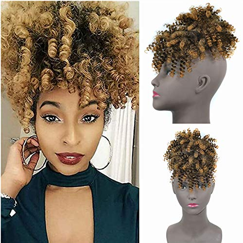 Afro Puff Drawstring Ponytail with Fringe Bangs Synthetic 8 inch Short Kinky Curly Drawstring Hair Bun Pony Tail with Fringe for Black Women Clip in on Wrap Updo Hair Extensions (1BT27)