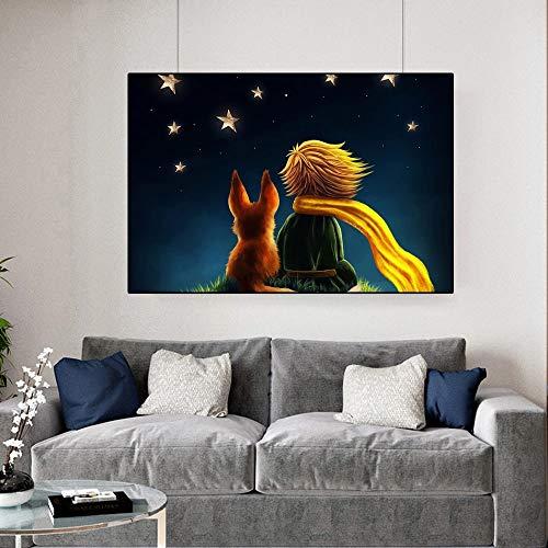 JHGJHK Mural Impresión en Lienzo Ilustración Decoración del hogar Película El Principito Imagen Modular Póster de Estilo nórdico Habitación Infantil Pintura al óleo (Imagen 3)