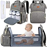 DEBUG Baby Diaper Bag Backpack with Changing Station Diaper Bags for Baby Bags for Boys Diaper Bag with Bassinet Bed Mat Pad Girl Men Dad Mom Travel Waterproof Stroller Straps Large Capacity Grey