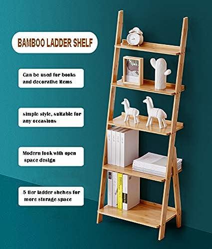 Bathroom Office Bamboo Storage Rack Shelves Wall Leaning Shelf,Free Standing Plant Flower Stand Kitchen Corner Display Bookcase for Living Room HYNAWIN Ladder Shelf 5-Tier Bookshelf