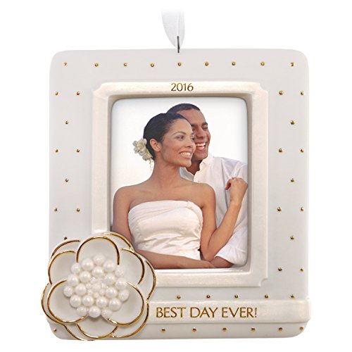 Hallmark Keepsake 2016 'Wedding Day' Dated Picture Frame Holiday Ornament