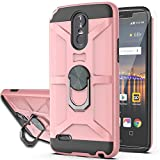 LG Stylo 3 Case,LG Stylo 3 Plus Case,LG Stylus 3 Case with HD Screen Protector YmhxcY 360 Degree Rotating Ring Kickstand Holder Dual Layers of Shockproof Phone Case for LG LS777-ZS-Rose Gold