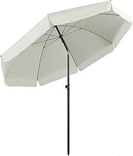 Sekey® Parasol 217 cm inclinable pour Patio Jardin Balcon Piscine Plage Ecru/Crème Rond Sunscreen UV25+