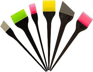 Lurrose 6本シリコン染毛ブラシプロフェッショナルカラーリングアプリケータツールキットヘアブリーチティンティングブラシツール(ランダムカラー)