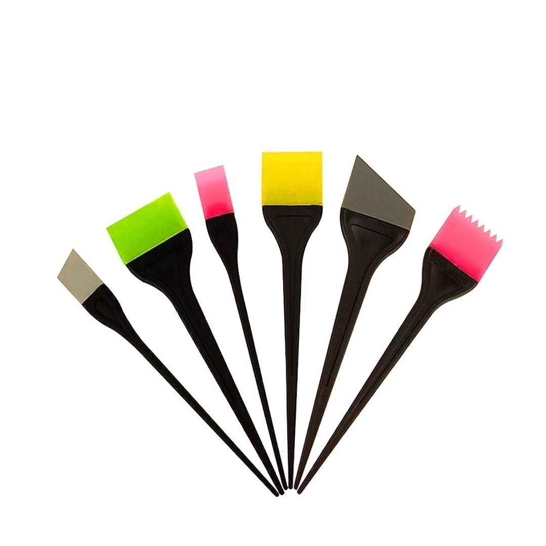 アイザック敬意を表してパットFrcolor ヘアダイブラシ ヘアカラー 毛染め シリコン製 ヘアダイコーム カラーリングブラシ 家庭用 美容師プロ用 6本セット(ランダム色)