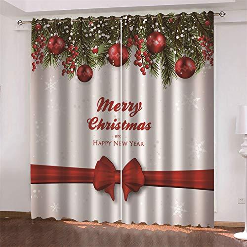 MMHJS 3D Weihnachtlich Bedruckte Vorhänge, Dickes Polyester, Wiederverwendbar, Schmutzabweisend, Schlafzimmer Balkon Sonnenschutz Haushaltsgegenstände (2 Stück)