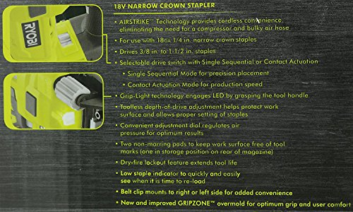 Ryobi P360 18 Volt Lithium Ion One+ 3/8 - 1 1/2 Inch Crown Stapler (Battery...