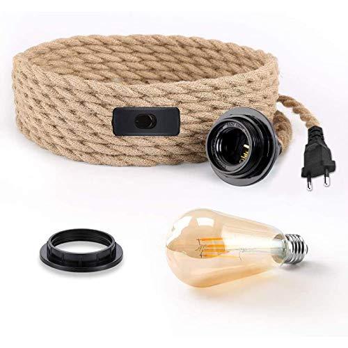 happylife - Juego de lámpara colgante con interruptor, cable de lámpara vintage, con 5 metros de cuerda de cáñamo E27, lámpara colgante para cocina, sótano, clase energética A + + +