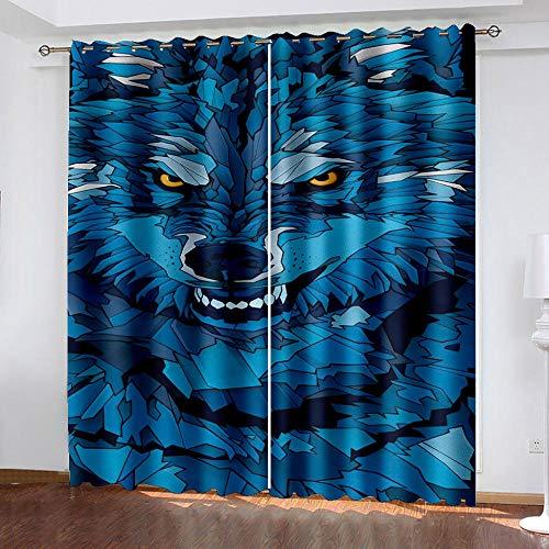 DRFQSK Cortinas Opacas Térmicas Aislantes para Salon Cortinas con Ojales para Dormitorio Impresión 3D Lobo Animal Azul Cortinas para Ventanas 2 Piezas 140 X 160 Cm(An X Al)