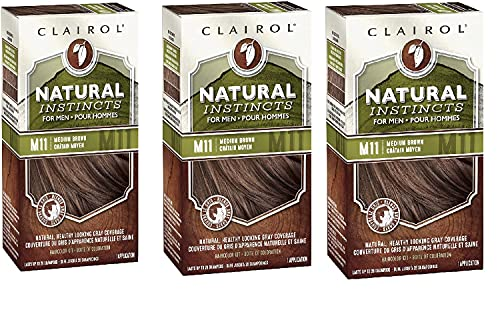 Clairol Natural Instincts Semi-Permanent Hair Color For Men, M11 Medium Brown Color, 3 Count