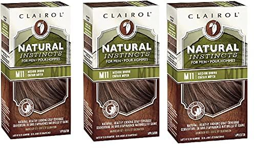 Clairol Natural Instincts Semi-Permanent Hair Dye for Men, M11 Medium Brown Color, 3 Count