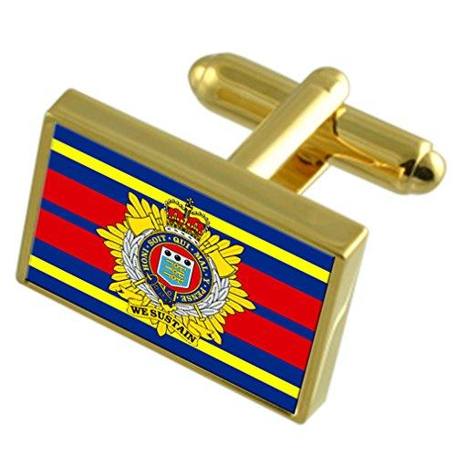 Select Gifts Royal Logistik Corps militärischen England Gold Manschettenknöpfe graviert Box