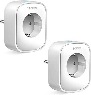 Enchufe Inteligente Wifi TECKIN Inalámbrico Smart Mini Monitor de Energía del Zócalo del Interruptor Compatible con Alexa Echo Google Asistente no se requiere Hub con Control Remoto (2 PACK)