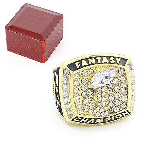 WANZIJING 2017 Fantasy Football Champion Ringe, Sportfans Ring-Größe 14.8 Collection for Boyfriend Geschenk Souvenirs mit Holzkiste,Gold,11