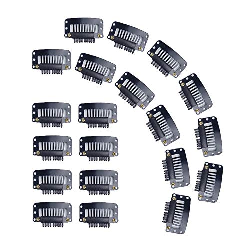 20PCS Wig Clips, 9 Teeth Small Snap Comb Wig Clips, Clips for Wig, Hair Extension Clips, Wig Accessories Clips (Black)