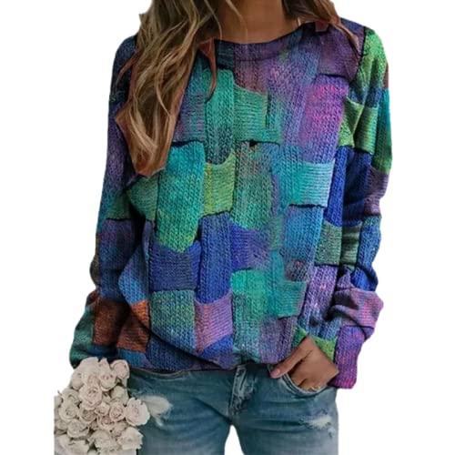 Tekaopuer Top estampado de cuello redondo para mujer, suéter de manga larga, sudadera casual suelta, azul, 3XL