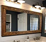 Herringbone Reclaimed Wood Framed Mirror, Available in 4 Sizes and 20 Stain colors: Shown in Provincial - Rustic Wall Mirror - Large Framed Mirror - 24x30-36x30-42x30-60x30