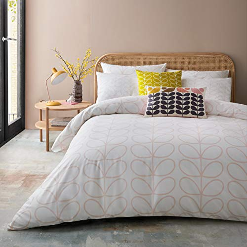 Orla Kiely Linear Stem Cloud Pink Bedding Bedding: Duvet Cover, Double 200x200cm