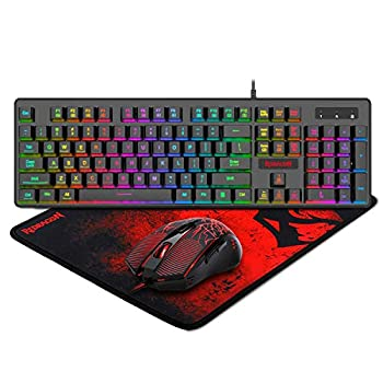 Redragon S107 Gaming Keyboard and Mouse Combo Large Mouse Pad Mechanical Feel RGB Backlit 3200 DPI Mouse for Windows PC  Keyboard Mouse Mousepad Set