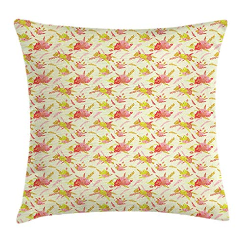 SSHELEY Floral Throw Pillow Cushion Cover, Colorful Illustration of Poppy Flowers and Leaves in Spring Tones Pillow Case