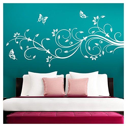 Grandora Wandtattoo XXL Blumenranken Schmetterlinge Blumen I weiß (BxH) 90 x 39 cm I Schlafzimmer Liebe Flur Wohnzimmer modern Aufkleber Wandaufkleber W1073