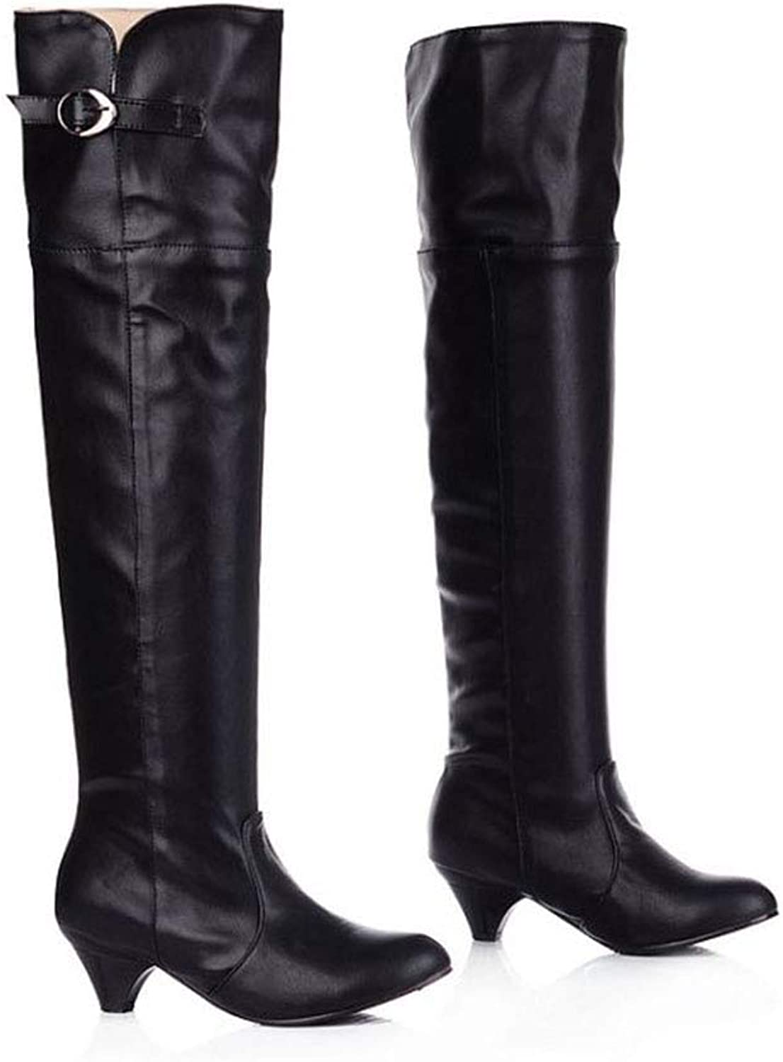 GONGFF Fashion Women's Boots Mid-Heeled Boots Large Size Boots Over The Knee Boots Large Size