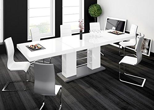 Furniture24 Design Esstisch Linosa - 2 in 3 Stufen ausziehbar 160cm / 210cm / 260 cm Hochglanz Acryl Tisch Küchentisch (Grau/Weiß Hochglanz)