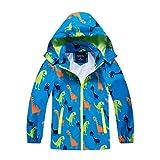 HZXVic abrigo para niño, chubasquero de niña, Poncho impermeable al aire libre para niños, Chaquetas con capucha para chico, Chaqueta de dinosaurios para chicos -azul 5-6 años