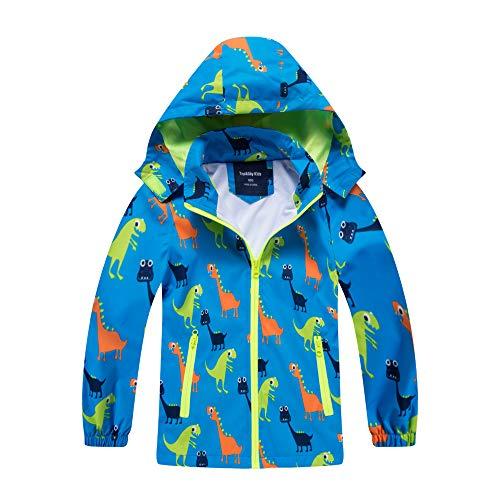 HZXVic abrigo para niño, chubasquero de niña, Poncho impermeable al aire libre para niños, Chaquetas con capucha para chico, Chaqueta de dinosaurios para chicos -azul 3-4 años