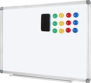 Welmors Office Magnetic White Board, Small Dry Erase Board 24'' x 32'', Aluminium Frame White Board with12x Magnets, 1x Er...