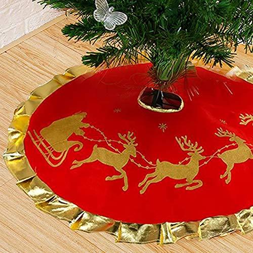 Morobor Deer Cart Christmas Tree Skirt, 90cm Diameter Christmas Tree skirt, Deer Cart Pattern Tree Skirt, Felt Chrirtmas Tree Skirt,for Decorate the Christmas Tree.