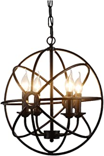 Glanzlight,GL-63408, Globe Metal Pendant Light, Chain Adjustable Candle Chandeliers 4 Lights, Island Cages Hanging Lamp, Overhead Lights for Kitchen Hallway, Black