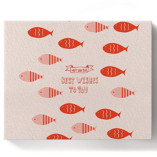 Canvas Wall Art DIY Oil Paint by Numbers Kits for Beginners Adults Kids - Blessing Quote Best Wishes to You Red Stripes Fish - Color by Number Acrylic Paints & Brushes, 16x20 Inches Wooden Frame
