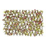 Erweiterbarer einziehbarer Gitterzaun, künstliche Holzgitter mit lebendigen Blumenblättern,...