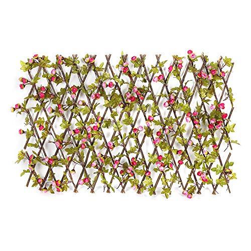 Erweiterbarer einziehbarer Gitterzaun, künstliche Holzgitter mit lebendigen Blumenblättern, Gartendekorationsgitter Gitter Sichtschutz Hinterhof Home Balkon Dekor Grünwände