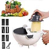 HFHC [9 in 1] - Set di tagliaverdure portatile, multifunzione, con cestello di scarico – Cucina magica rotante per frutta e verdura Frassino bianco.