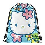 Bolso clásico con cordón, diseño floral de gatito gimnasio mochila bolsas de hombro para hombre y mujer