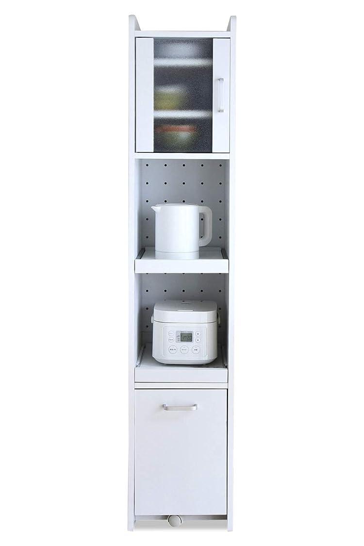 したがって図書館マントJKプランすきま 隙間収納 キッチン ミニ 食器棚 キッチン家電収納 家電ラック 家電収納棚 コンパクト 収納 スリム ラック 棚 幅 30 高さ 160 ホワイト 白 TSFKC0532WH