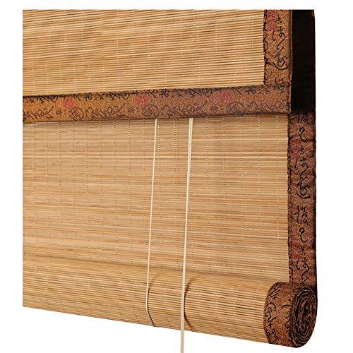 LIANGJUN Estor enrollable de bambú para ventana romana, estilo retro, enrollable, a prueba de polvo, estilo japonés, personalizable